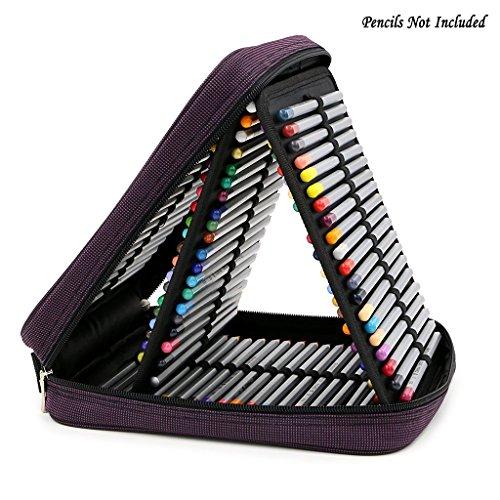 BTSKYÂ Handy Deluxe Colored Pencil Case--120 Slot Watercolor Pencil Bags Large With Zipper Purple