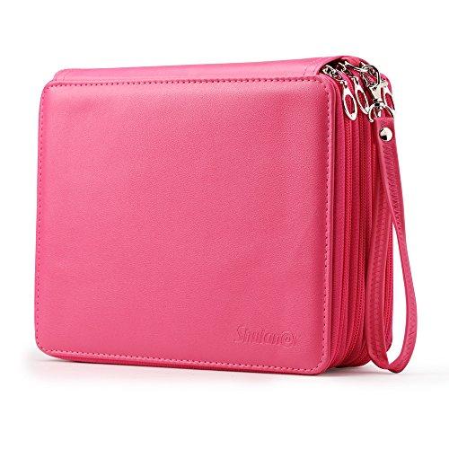 Shulaner Rose Red Pencil Case Organizer Large Capacity Portable Pencil Bag 168 Slots