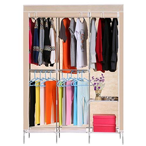 Asatr Wardrobe Clothes Closet Non Woven Folding Portable Clothes Storage Organizer Rack 495-Inch Beige