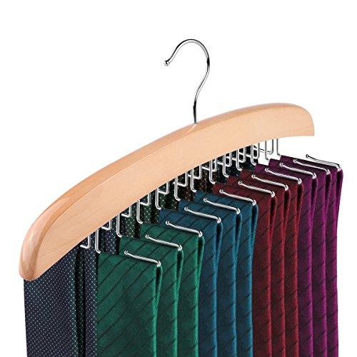 Tie Rack ALLOMN 24-Hook Natural Wooden Tie Hanger Organizer Accessory Rack for Closet