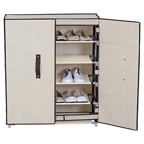 WOLTU 6 Tiers Portable Shoe Rack Closet Shoe Storage with Magnet Door Cabinet Organizer with Dustproof Cover Beige