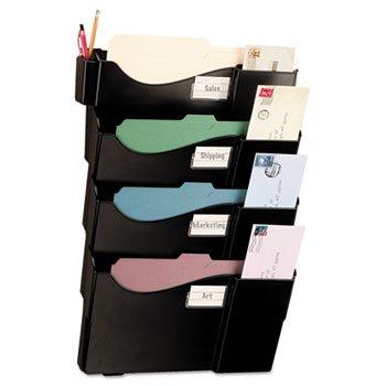 Wall Filing System Four Pockets 23 14 x 15 34 x 3 78 Plastic Black