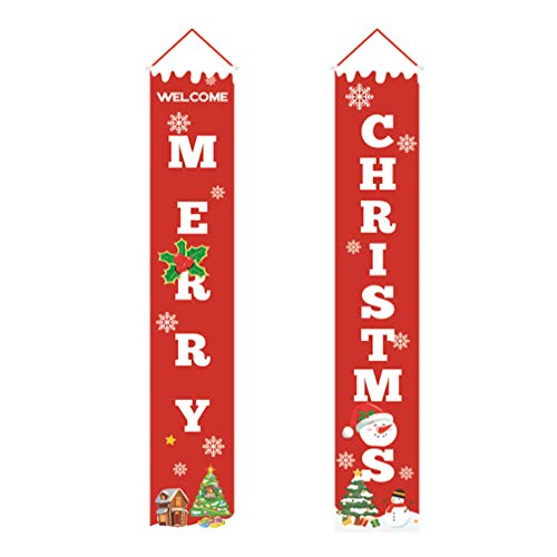 DOITOOL 1 Pair of Merry Christmas Porch Sign Banners Christmas Hanging Sign for Holiday Home Indoor Outdoor Porch Wall Christmas Decoration Xmas Decor Banners Front Porch Christmas Decor Red