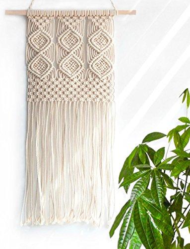 Handmade Macrame Wall Hanging Woven Tapestry - BOHO Chic Home Art Decor - Bohemian Apartment Studio Dorm Decorative Interior Wall Decor - Living Room Bedroom Nursery Craft Decorations 120W x 250L