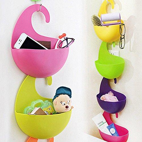 4 Pcs Colorful Multi-Purpose Hanging Basket Agile-shop Multilayer Superposition Wall-hanging Eco-friendly Plastic Receive Storage Basket
