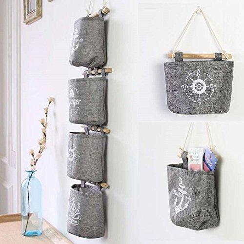 Cloulds_Zone Useful Retro Grey Cotton Linen Wall Hanging Storage Bag Sundries Organizer Hanger Bag