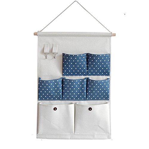 Hanging OrganizersCAZ 7 Pockets LinenCotton Fabric Over Wall Door Closet Window Hanging Storage Case Organizer Bag with 2 Hooks Dots