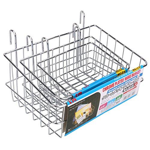 Kleanner Multipurpose Mesh Wall Hanging Storage Basket Wire Grid Panel Kitchen Bathroom House Bin Organizer Idea For Home Supplies OrganizationWall Decor - 3 PCS  SET