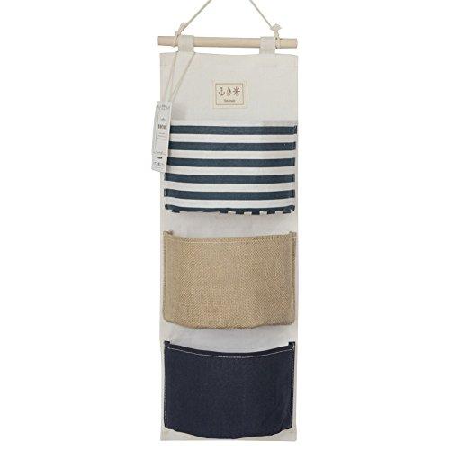 YOUOR Linen Cotton Fabric Wall Door Closet Hanging Storage Bag 3 Pockets Over the Door Organizer Navy Blue