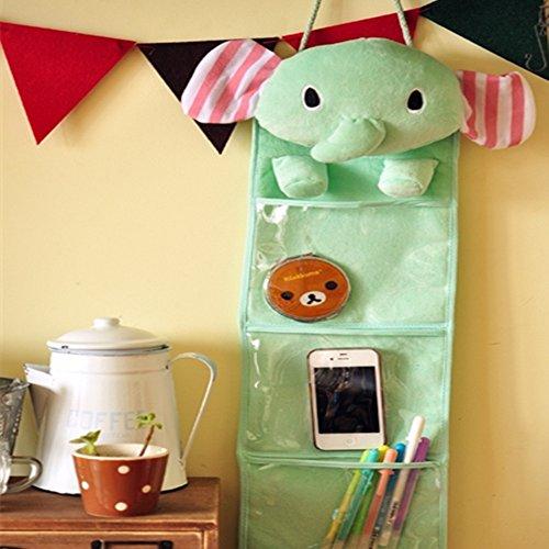 Yipad Wall Hanging Storage Bag 3 Pockets 3 Designs Elephant Green