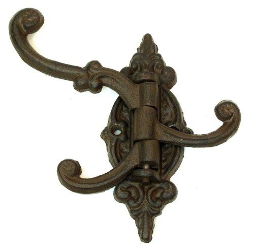 Cast Iron Vintage Antique Victorian Swing Arm Swivel Wall Hook Hall Tree 3 Hooks