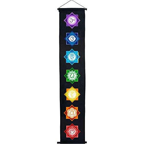 4Rissa Seven Chakra Black Door Wall Hanging Banner Tapestry Reiki Yoga Studio Decor