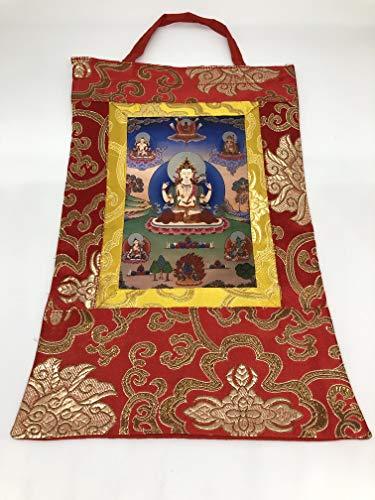 Tibetan Buddhist Silk Brocade 4 arms chenreizig Small thangkaWall HangingBanner