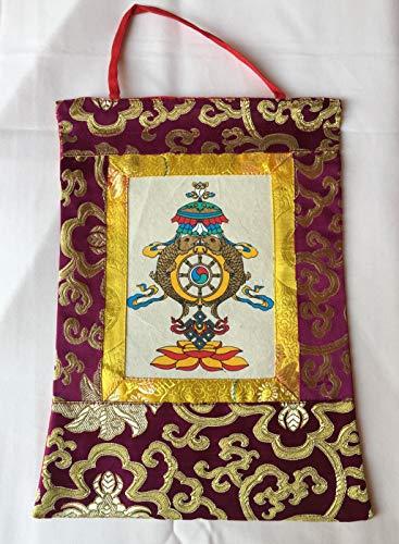 Tibetan Buddhist Silk Brocade Auspicious Symbol Hand Printed Small thangkaWall HangingBanner Nepal