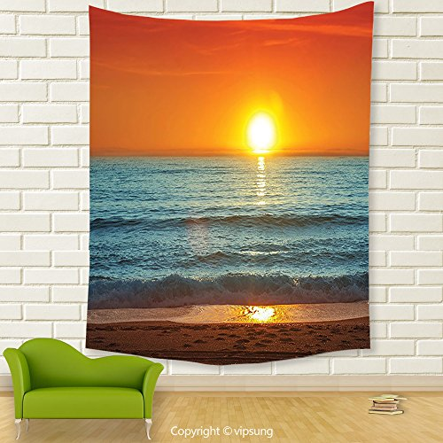 Vipsung House Decor Tapestry_Tropical Sunset Over The Sea Misty Horizon Ocean Dreamy Sky Peaceful Picture Orange Marigold Turquoise_Wall Hanging For Bedroom Living Room Dorm