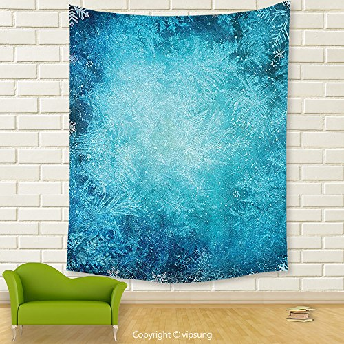 Vipsung House Decor Tapestry_Winter Decorations Digital Made Winter Background With Snowflake Figure In Soft Colors Theme Turquoise_Wall Hanging For Bedroom Living Room Dorm