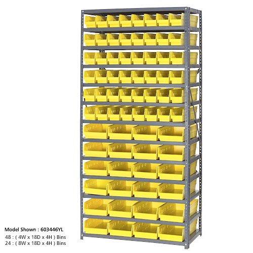 13 Shelf Steel Shelving With 96 4H Plastic Shelf Bins Yellow 36x18x72