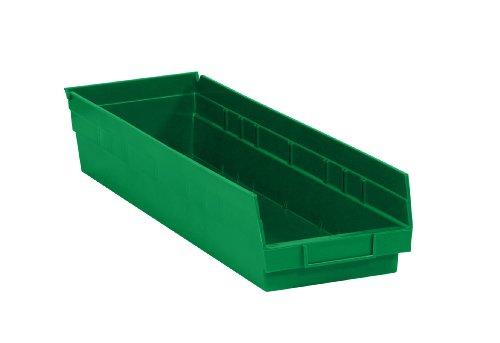 Aviditi BINPS122G Plastic Shelf Bin Boxes 23 58 x 6 58 x 4 Green Pack of 8