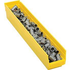 Plastic Shelf Bin Nestable 4-18W X 23-58 D X 4H Yellow - Lot of 12