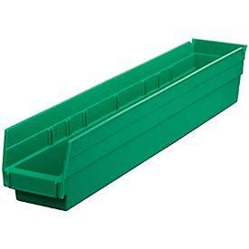 Plastic Shelf Bin Nestable 4-18W X 23-58 D X 4Hgreen - Lot of 12