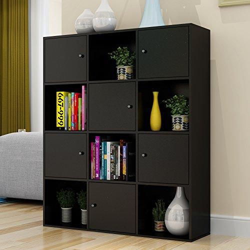 Betwoo Wood Storage Cabinet Lockers Bookcase with Doors 4 Tier Shelf Black