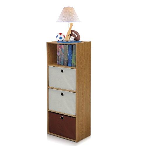 FURINNO NT-12061OAKIV-DB2 TiADA No Tools 4-Tier Shelf Storage with Bin Natural Oak Finish