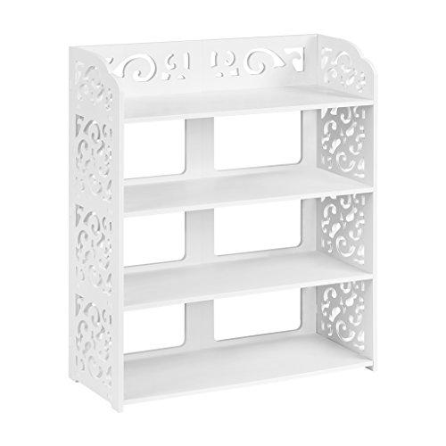 Finether 4-Tier Modular Cut-Out Wood Plastic Composite Shelf Unit Storage Organizer Shelf Bookcase Display Rack SGS Certified White