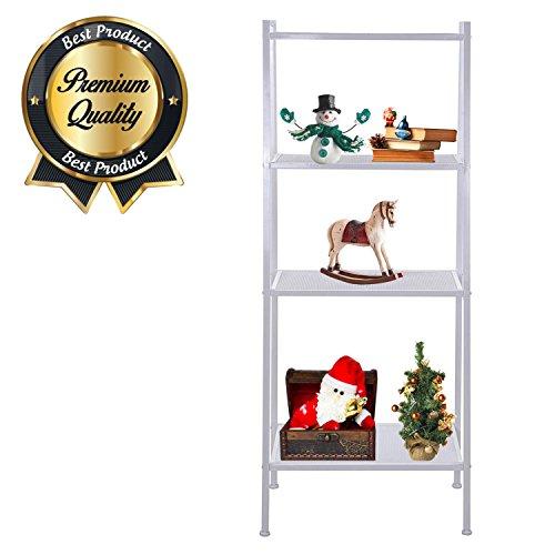 Koval Inc 4-Tier Metal Ladder Bookshelf Wire Shelving Kitchen Storage White 23-35L x 14W x 58H