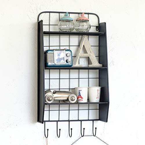 Iron Wall Shelf with Hooks LOFT Industrial Vintage Style Black Living Room Bedroom Office Decoration 402275CM