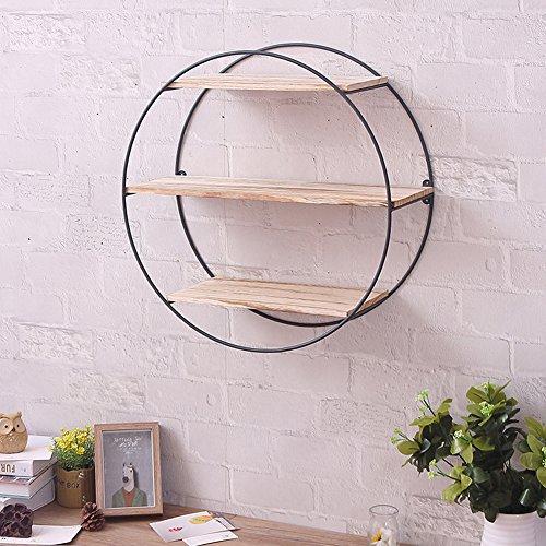 Iron Wall Shelves Brackets Art Wooden Wall Bookshelf Metal Wall Rack with Vintage Wood Storage Holder - Round