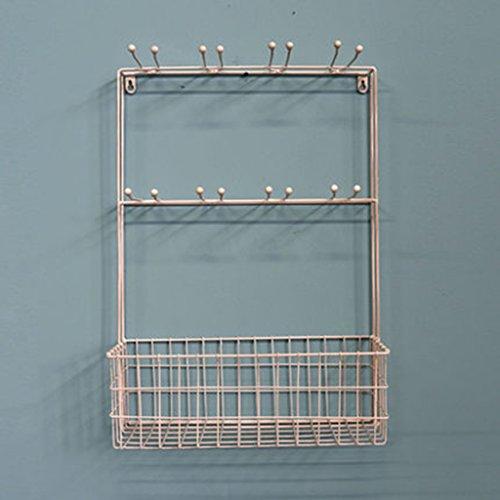 PHBZWJ Coat RackIron Wall ShelfMulti-Function Hook Toilet Shelves Study of Hanging Storage Color  White