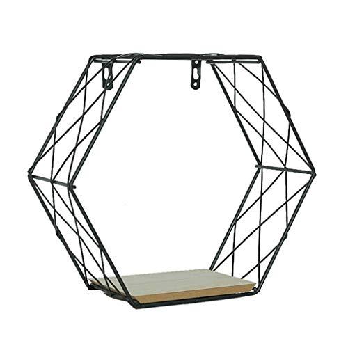 RICH-Po Iron Wall Shelves Art Bookshelf Metal Rack Metal Hexagonal Grid Shelf Floating Box Mesh Wall Decor Storage Shelf DIY Grid Wall Photos Pictures Holder Storage Rack 17010B
