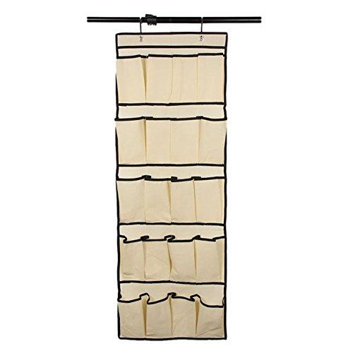 20 Pockets Door Hanging Shoe Organizer Storage Hanging Storage Rack Bag Box Wardrobe Hook beige