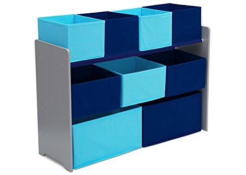 Delta Children Deluxe Multi-Bin Toy Organizer with Storage Bins GreyBlue