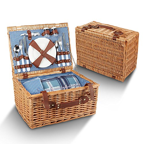 Picnic Basket For 4 - 29 Piece Kit Includes Wicker Basket with Stainless Steel Flatware Ceramic Plates Glasses Linen Napkins and Blanket and More - by Vysta