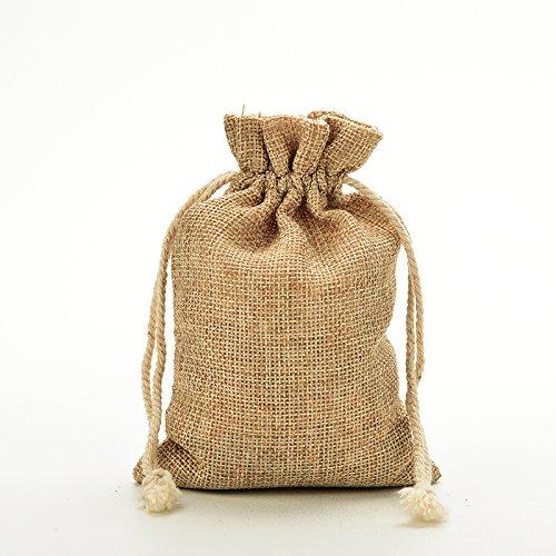 20 Pcs Natural Burlap Linen Jute Vintage Wedding Drawstring Gift Favor Sack Bags by UBOOMS