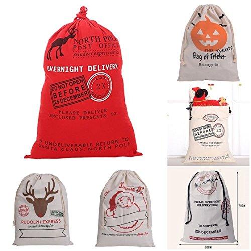 ULAKY Santa Canvas Merry Christmas Santa Sacks Reindeer Gift Present Storage Bag