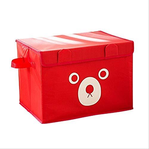 DLPHWBD Shelf Foldable Oxford Cartoon Cute Bear Storage Box for Clothes Underwear Bra Socks Kid Toys Organizer Home Storage Bins M red