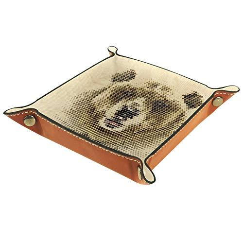 Lyetny Animal Vintage Geometric Bear Storage Box Bedside Desktop Tray Change Key Wallet Coin Box Tray Storage Valet16x16cm
