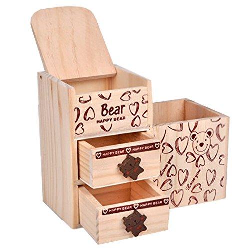 Pen holder ZDDAB Multifunctional Wooden Cute Bear Storage Box Student Double Drawer Multi-purpose Storage Box