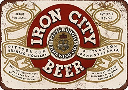 1933 Pittsburgh Iron City Beer Vintage Look Reproduction Metal Tin Sign 12X18 Inches