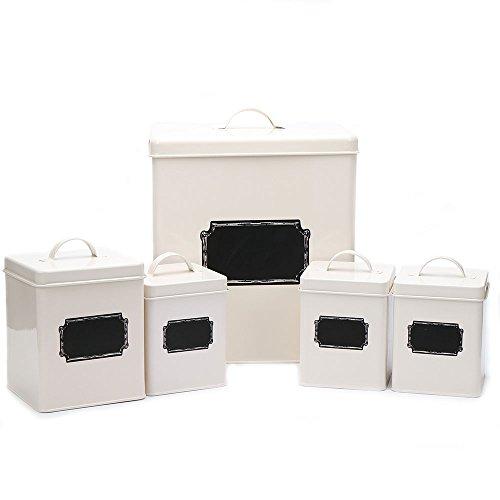 Hot Sale X321 Cream White Set of 5 Metal Square Storage Tin CanisterBread BinContainerBoxSet