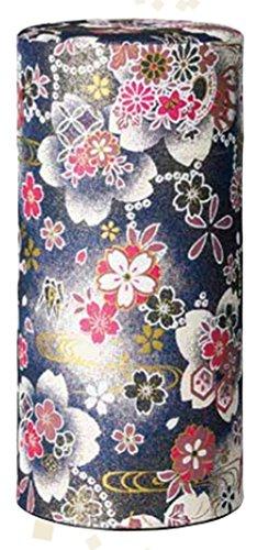 Ryu Mei Hanatsuzumi Japanese Tea Canister  Imported Japanese Tea Storage Tin  192HR0  Black Flower