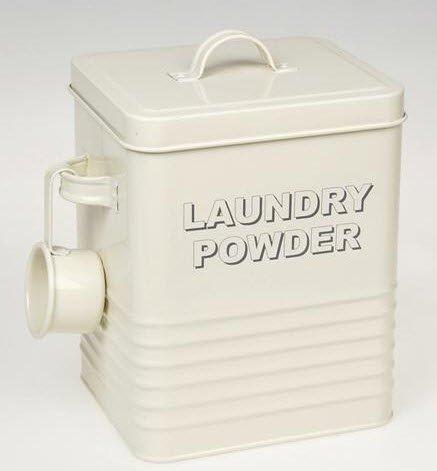 The Leonardo Collection LP22215 Sweet Home Laundry Powder Storage Tin with Scoop Cream