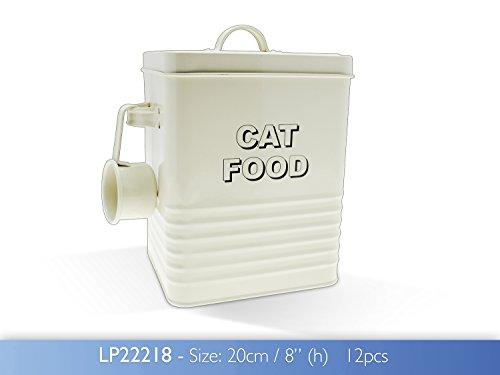 The Leonardo Collection LP22218 Sweet Home Cream Cat Food Storage Tin with Scoop