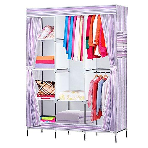 NEX Wardrobe DIY Clothes Storage Cabinet Portable Tool Organizer Bedroom Closet Doll CollectionPurple