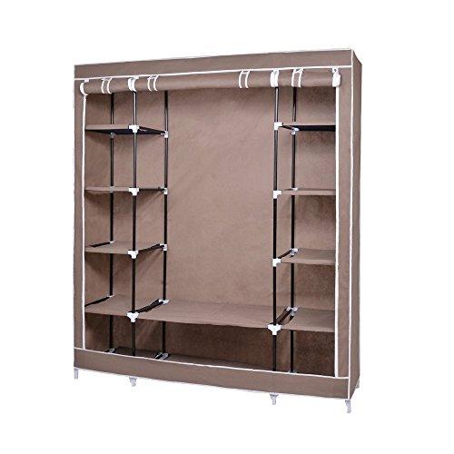 NexPortable Storage Organizer Wardrobe Closet Shoe Rack Assemble Easy 69 x 51 x 175 15 Cubic Ft Brown