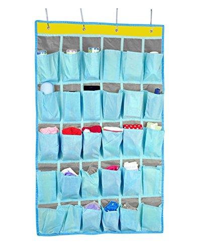 Over Door Hanger Wall Door Hanging Storage Wardrobe Organizer Shoes Underwear Socks Organizer Home Sundry Daily Supplies Storage Pouch with 30 Pockets dark blue