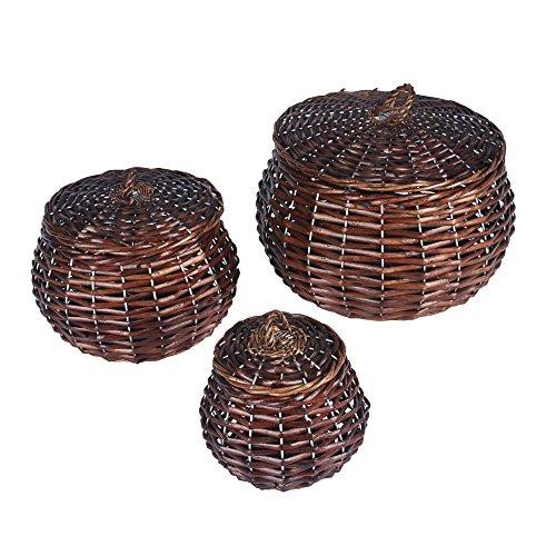Household Essentials ML-2229 3 Piece Set Round Willow Wicker Decorative Storage Baskets Dark Brown