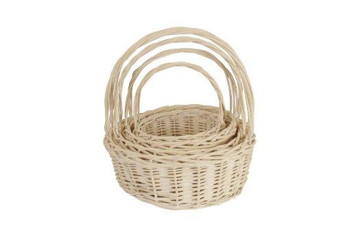 Wald Imports Whitewash Willow  Decorative Nesting Storage Baskets Set Of 4